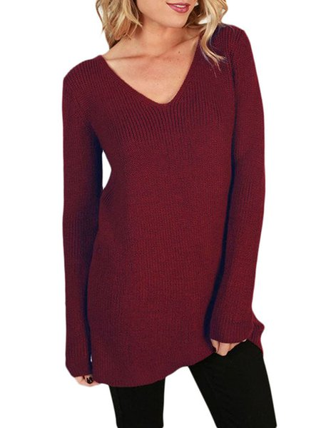 Women's Cozy V Neck Knit Top Sweater Back Lace Up Pullover Sweater ...