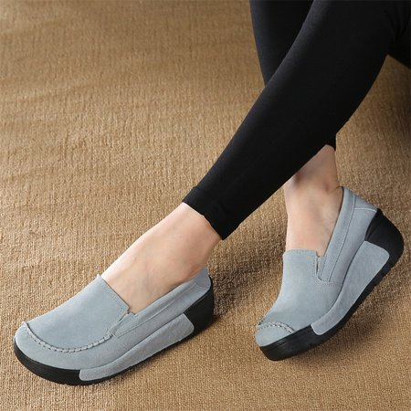 Suede Slip On Loafers Lazy Casual Flat Shoes For Women