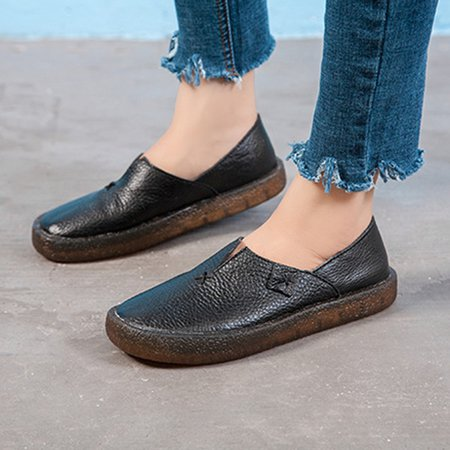 Women Leather Flats Slip On Loafers Soft Comfort Driving Walk Shoes