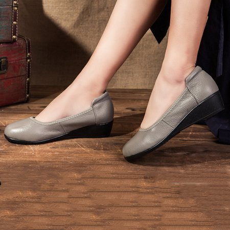 Women's Casual Solid Leather Driving Slip On Flats