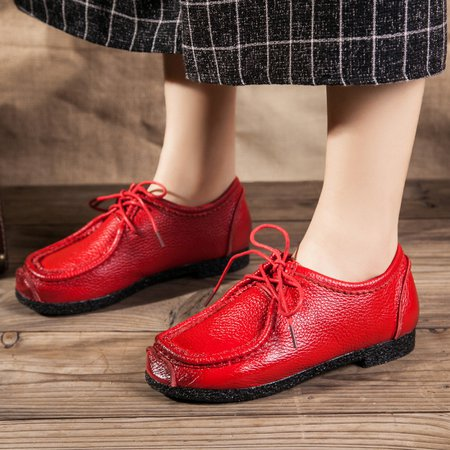 Genuine Leather Casual Lace-up Loafers