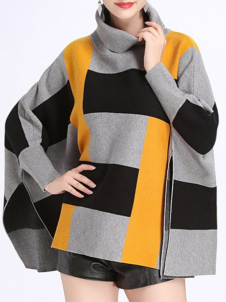 Fashion Warm Slit Casual Turtleneck Poncho Coat