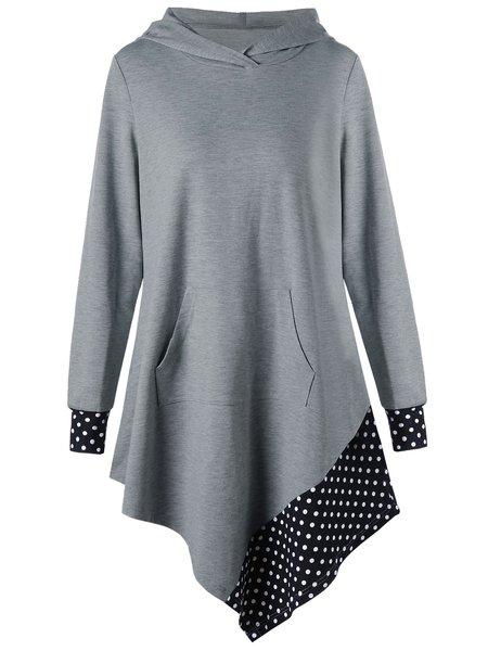 A-line Polka Dots Long Sleeve Paneled Hoodie