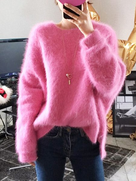Warm Knitted Casual Crew Neck Faux Fur Solid Sweater