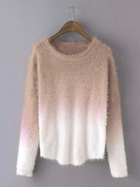 Women's Mohair Gradient Long Sleeves Pullover Round Neck Sweater