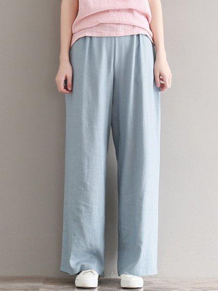 Comfortable Simple Pockets Wide Leg Pants