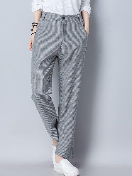Gray Stripes Casual Pockets Linen Harem Pants
