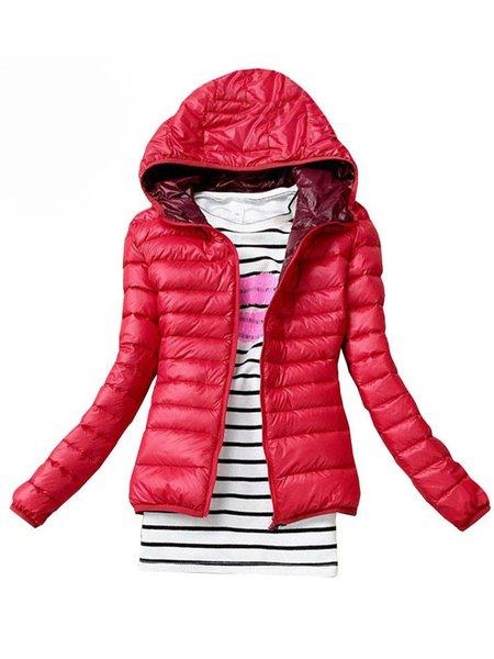 Hoodie Simple Cotton-blend Zipper Down Coat