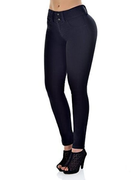 Casual Polyester Solid Middle-rise Slim Legging