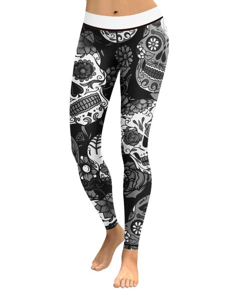 Black Printed Floral Breathable Sport Legging