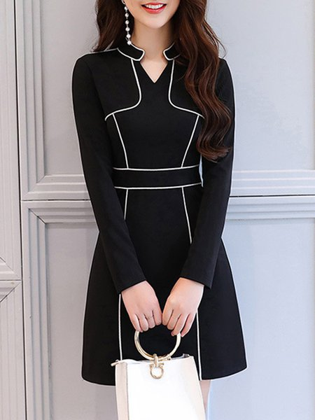 Black Piping V-Neck Elegant A-line Dress