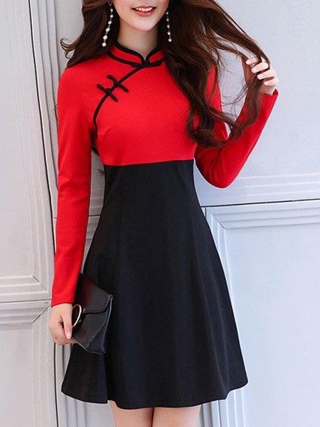 Black Korean Style Vintage A-line Slim Dress