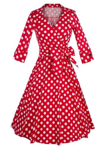 Women's Vintage Dresses 1950s Long Sleeve Bowknot Retro Dresses