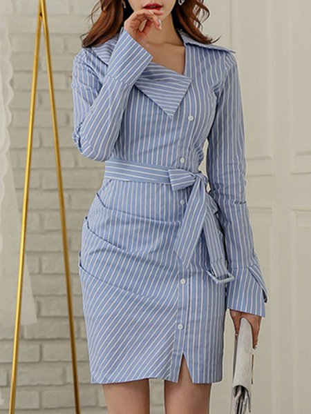 Women's Stripe Sexy Bow Knot Belted Shirt Mini Dress