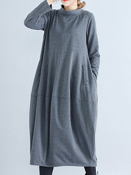 Stylish Stand Collar Cocoon Knitted Vintage Dress