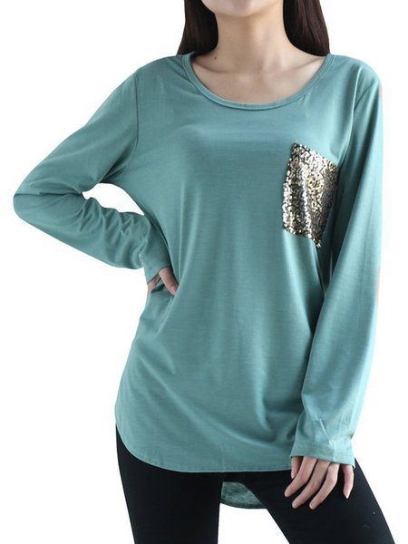 Simple Long Sleeve Glitter-finished Casual T-Shirt