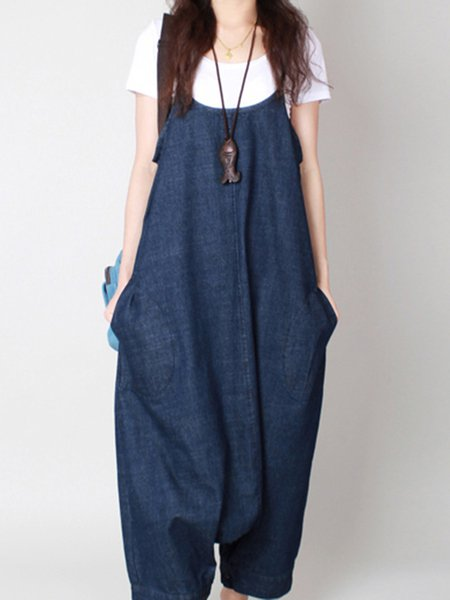 Dark Blue Spaghetti Cocoon Casual Jumpsuit