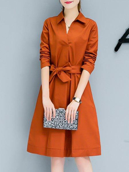 Women's Long Sleeve Solid Bow Tie Waist Straight Office Midi Dress