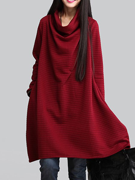 Women  Casual Turtle Neck Long Sleeve Cotton Blend Midi Dress