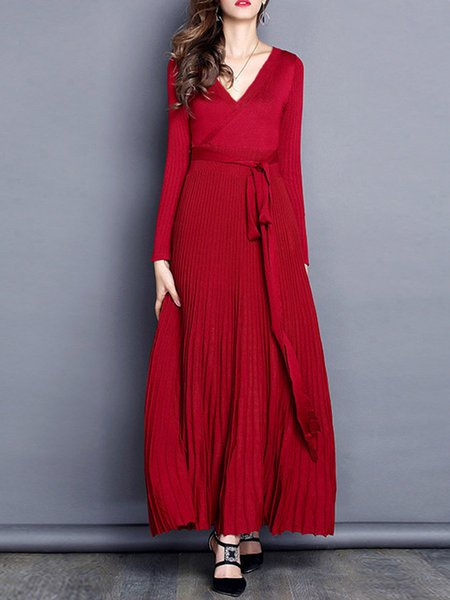 Solid Long Sleeve Elegant Knitted Pleated Dress with Belt