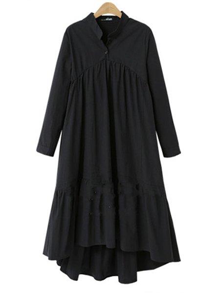 Black Asymmetric Shift Linen Long Sleeve Dress