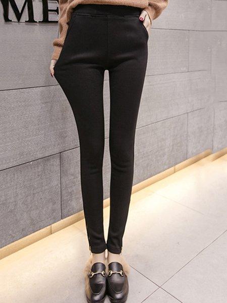 Black Solid Cashmere Zipper Cotton Casual Elasticity Pants