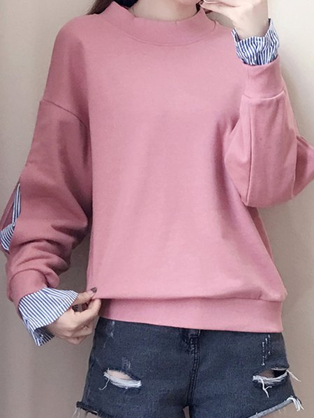 Simple Stand Collar Paneled Sweatshirt