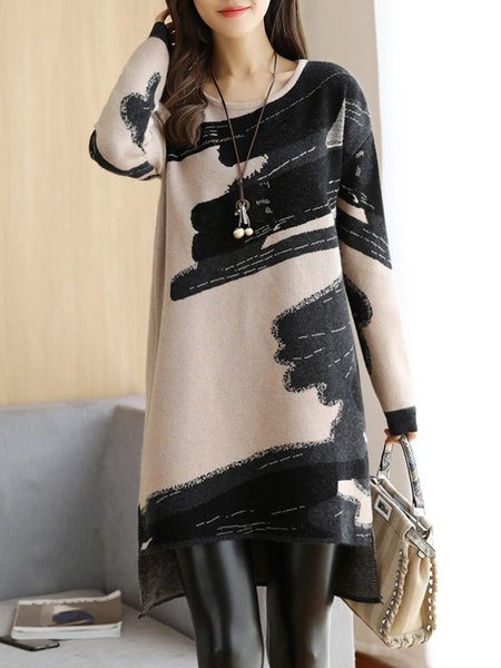 Fall Winter Dress Casual Long Sleeve Crew Neck Printed Dress