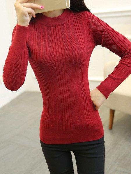 Long Sleeve Crew Neck Cotton Elegant Solid Sweater