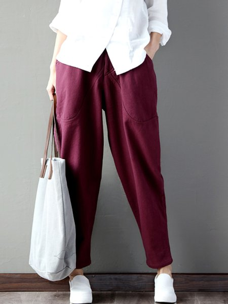 Simple Solid Pockets Casual Harem Pants