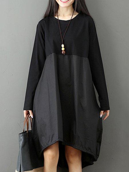 Women Casual Dress Crew Neck Daily Long Sleeve Color-block Dress