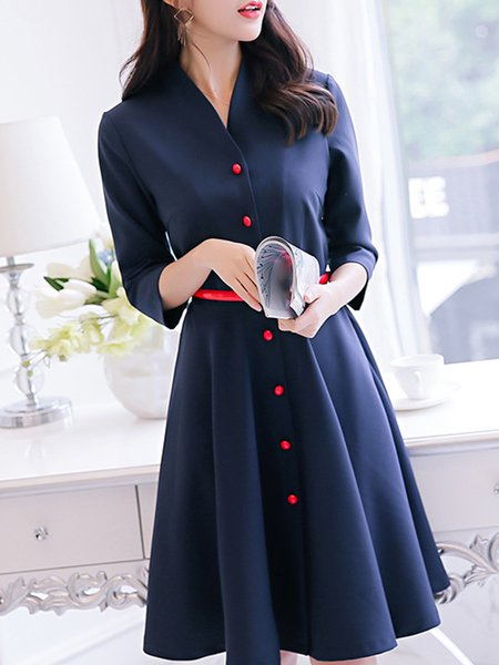 Navy Blue A-line Casual Buttoned Slim Dress