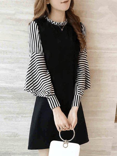 Black Casual Stand Collar Paneled Frill Sleeve Women Dress