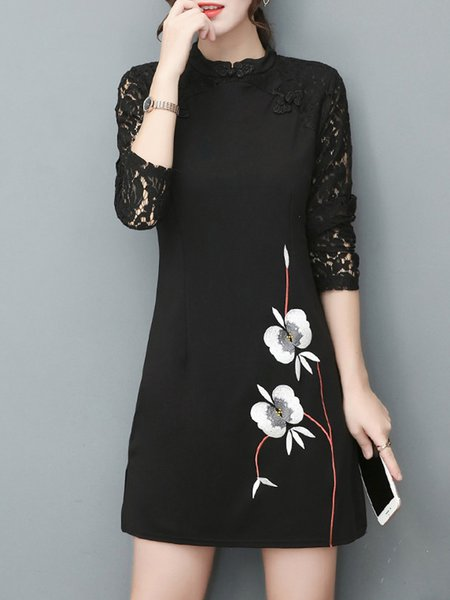 Women's Dress Long Sleeve Floral Embroidered A-line Dress
