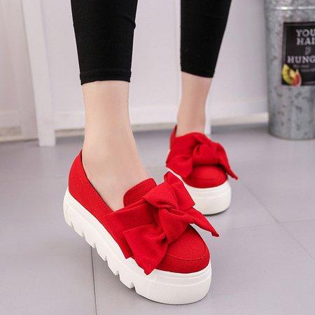 Women's Shoes Bowknot Canvas Platform Loafers