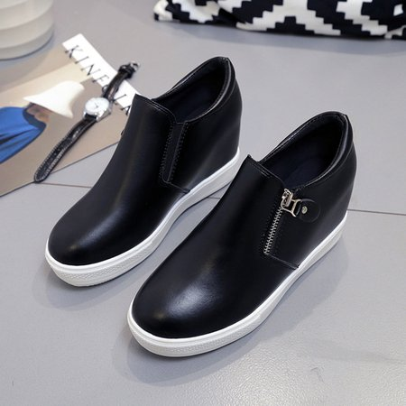 Women's Shoes PU Casual Comfortable Zipper Increased within Sneaker