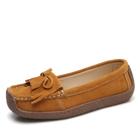 Women's Shoes Suede Breathable Flat Heel Casual Tassel Loafers