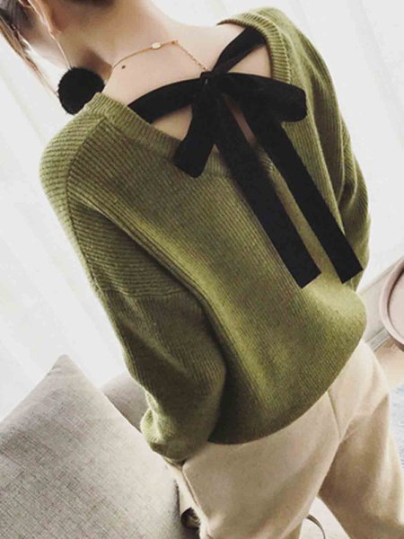 Knitted Elegant Batwing Plain Lace Up Bow Slouchy V Neck Sweater