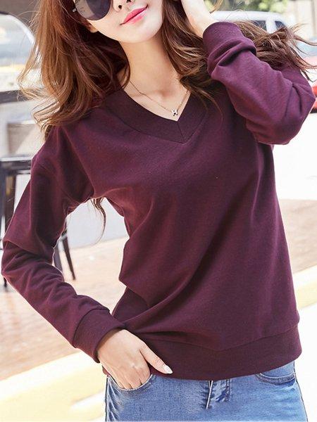 Solid V Neck Basic Long Sleeve Sweatshirts for Women