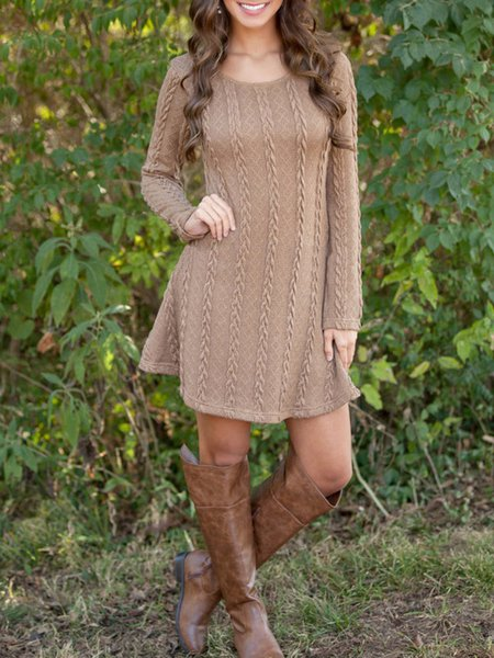 Women Casual Dress Crew Neck Daily Long Sleeve Knitted Dress