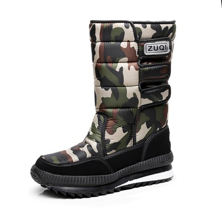 Camouflage Panel Winter Oxford Cloth Magic Tape Ati-slip Flat Heel  Mid-calf Boots