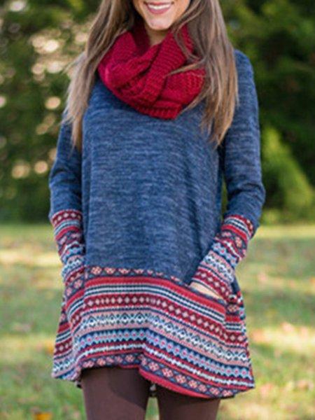 Tribal Long Sleeve Casual A-line Paneled Dress