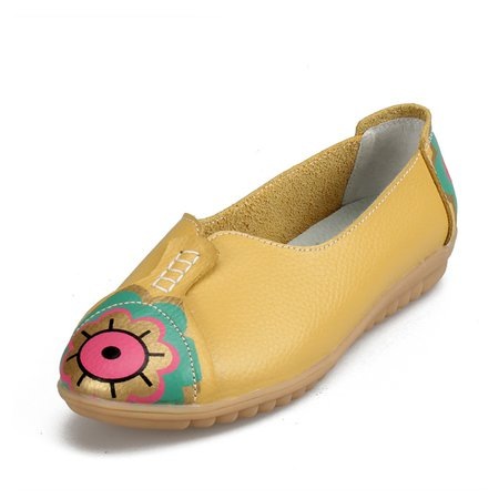 Casual Eyes Floral Print All Season Ati-slip PU Flat Heel Shoes Slip-on Flats