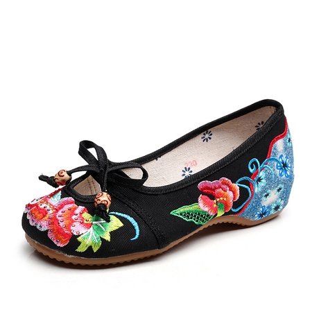 Chinese Style Casual Flat Heel Shoes Flower Embroidery Ati-slip Bowknot Cutout Canvas Flats