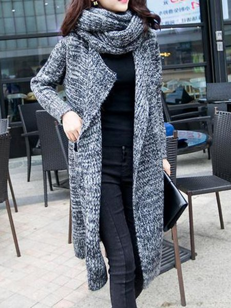 Dark Blue Knitted Simple Cardigan with scarf