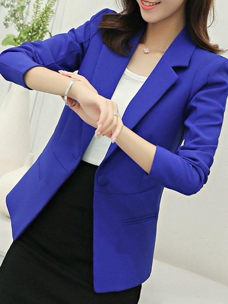 Long Sleeve Polyester Pockets Work Solid Blazer