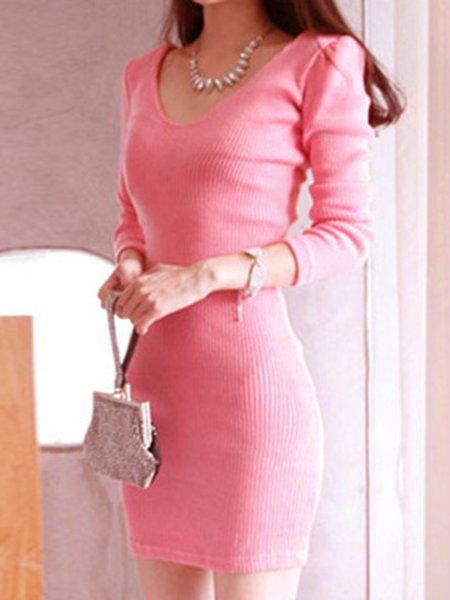 V-Neck Long Sleeve Ribbed Dress