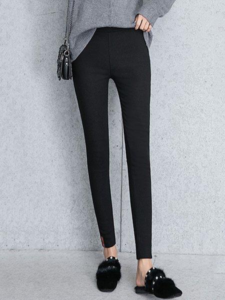 Black Pockets Woven Simple Pants