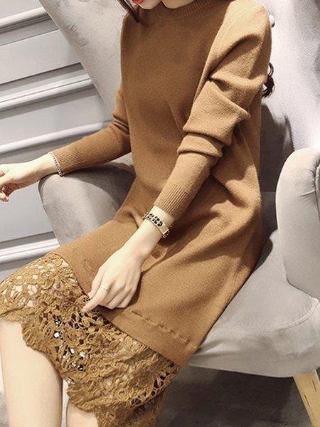 Cotton-blend Elegant Paneled Crew Neck Dress