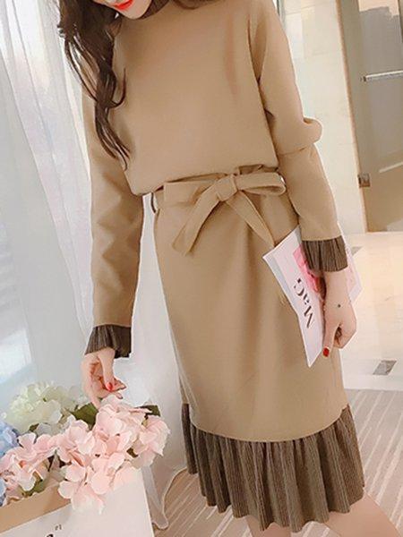 Solid Sweet A-line Long Sleeve Dress